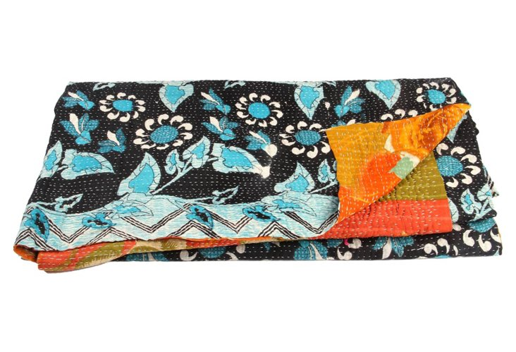 Hand-Stitched Kantha Throw, Chichoua