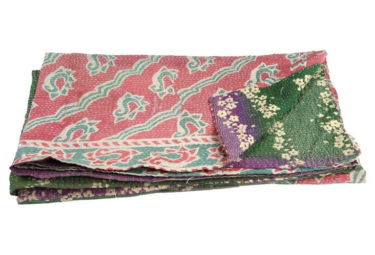 Hand-Stitched Kantha Throw, Nartan