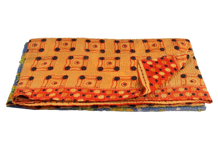 Hand-Stitched Kantha Throw, Nilima