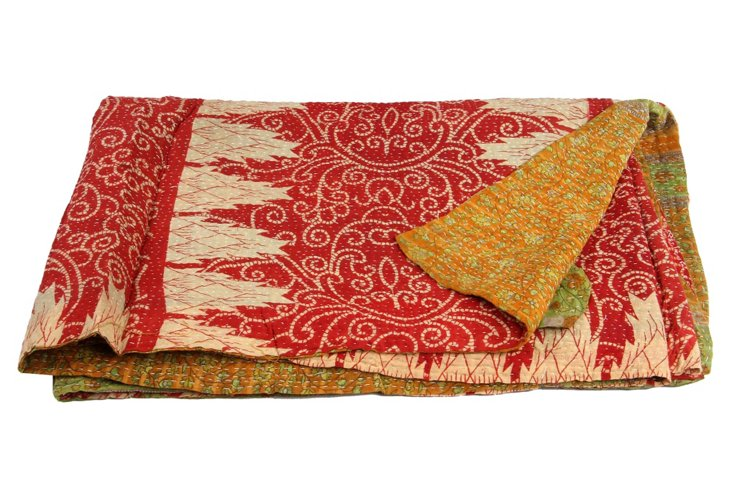 Hand-Stitched Kantha Throw, Niverta
