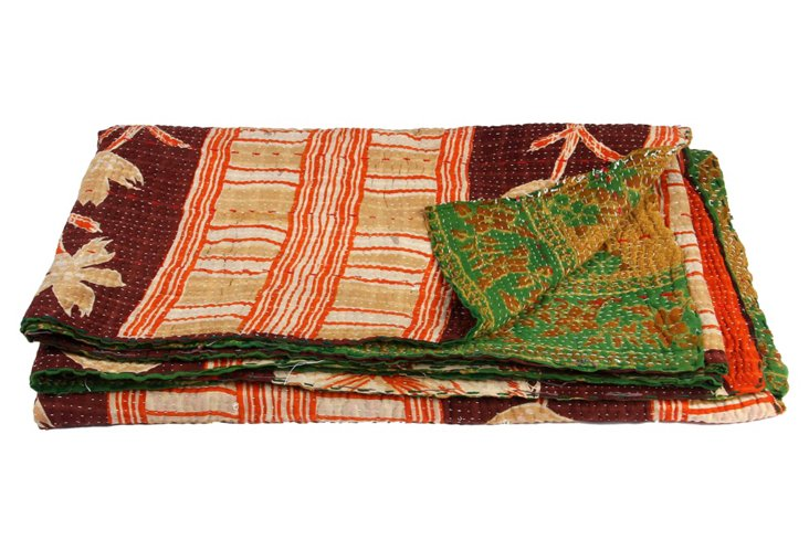 Hand-Stitched Kantha Throw, Ainsley