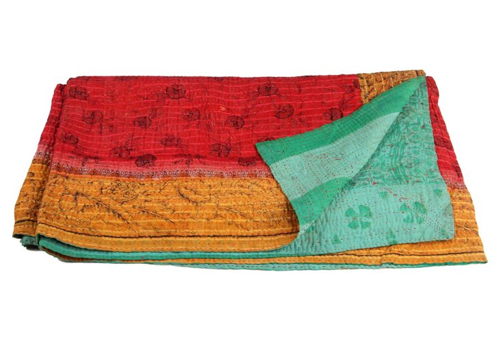 Hand-Stitched Kantha Throw, Sophia