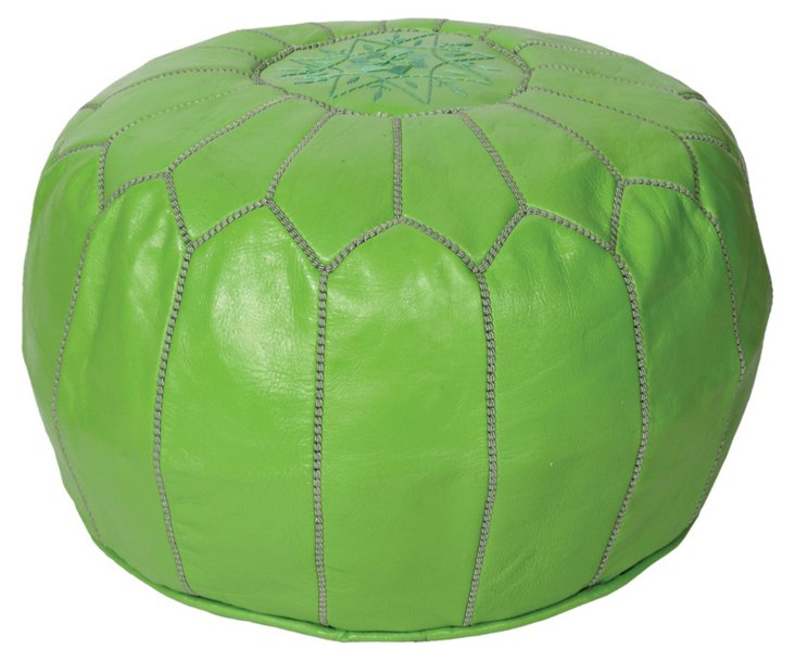 Moroccan Leather Pouf, Lime Green