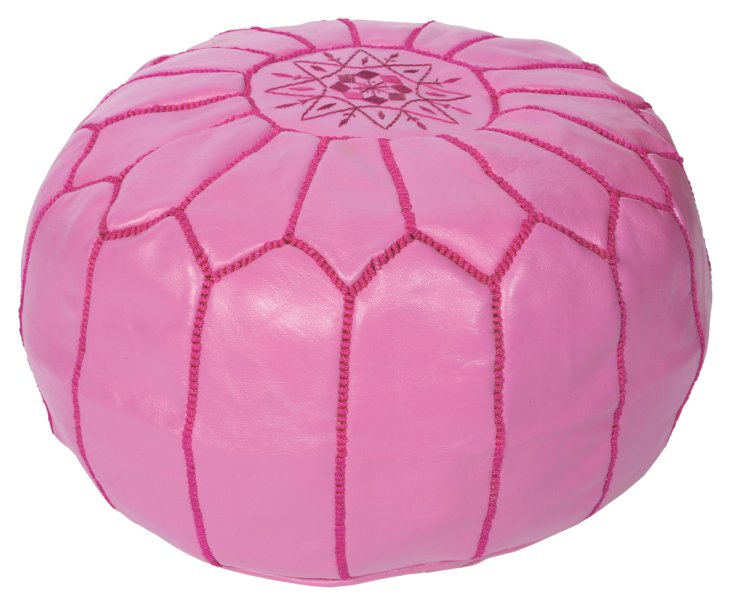 Moroccan Leather Pouf, Rose