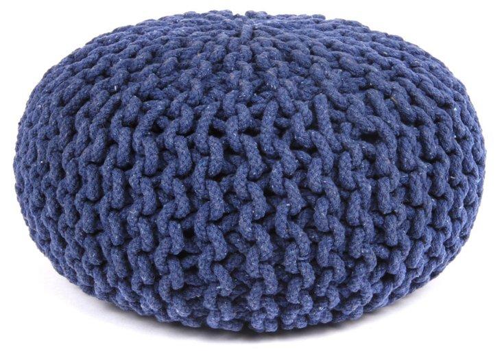 Jacie Knit-Cable Pouf, Navy