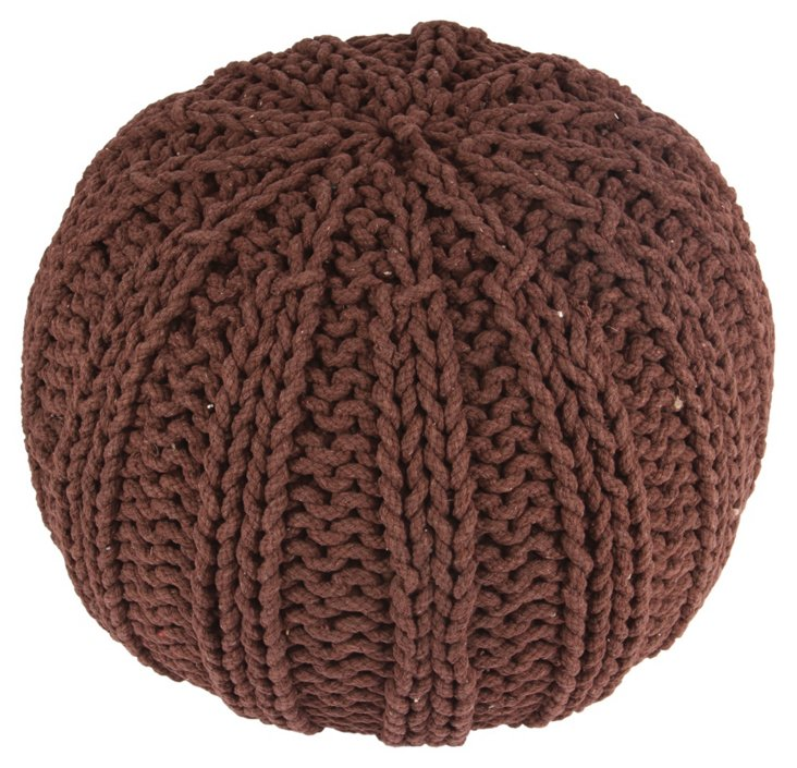 Louise Knit Cable Pouf, Brown