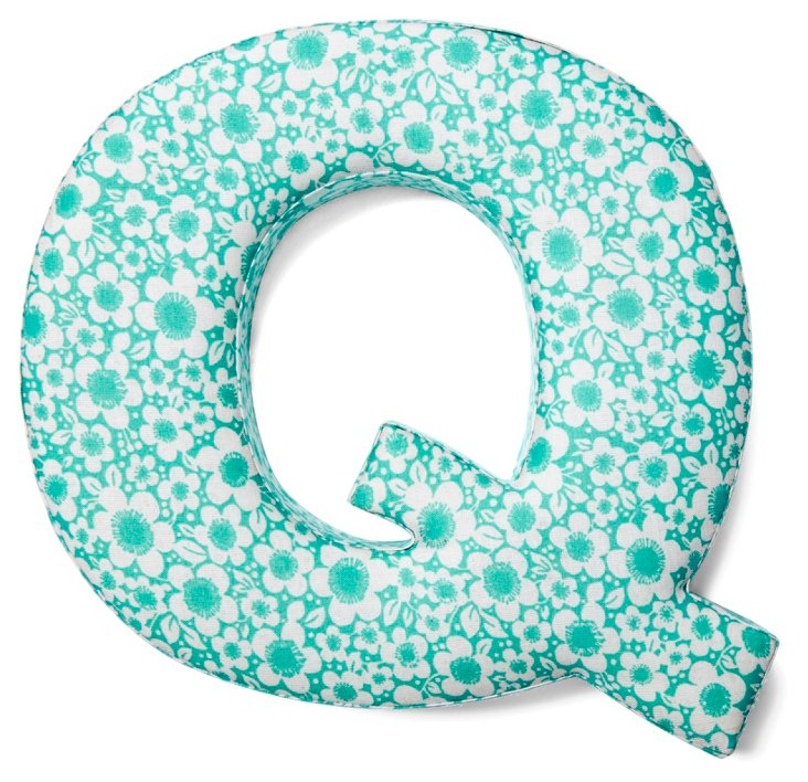 """7"""" Fabric Letter, Turquoise Floral Q"""