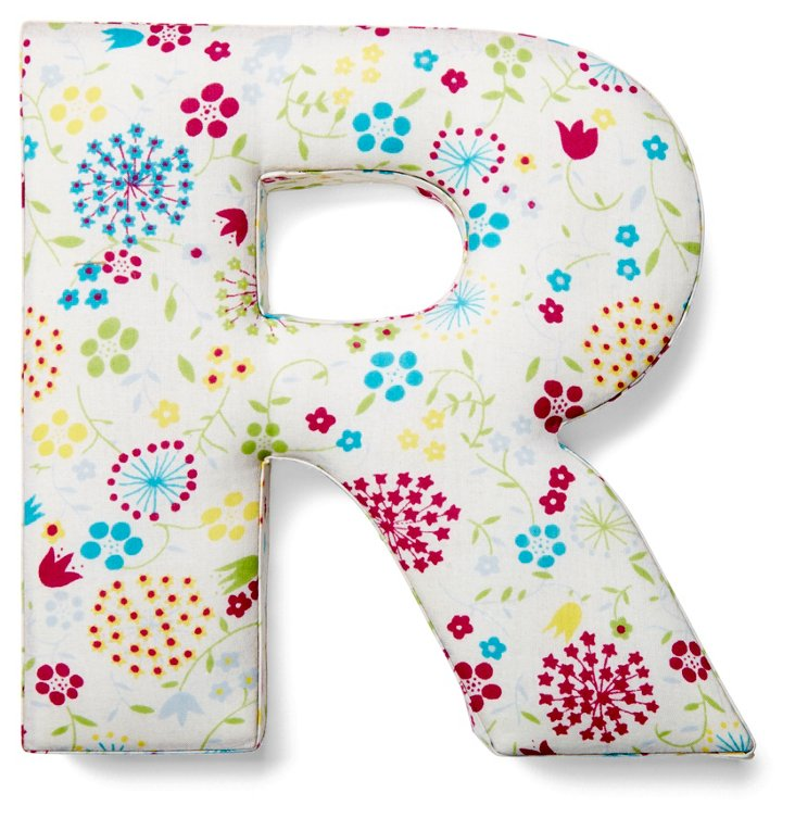 """7"""" Fabric Letter, Whimsy Floral,  R"""