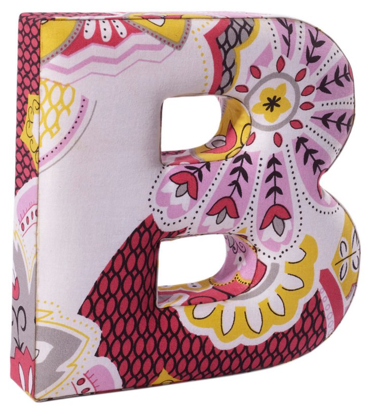 """Fabric Letter """"B"""", Funky Floral"""
