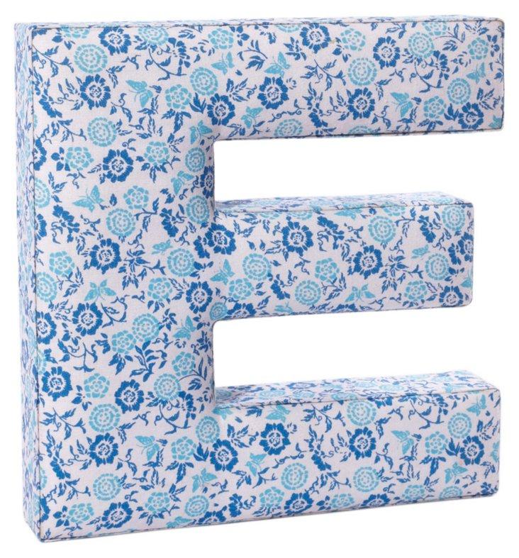 """Fabric Letter """"E"""", Sweet Pea Blue"""