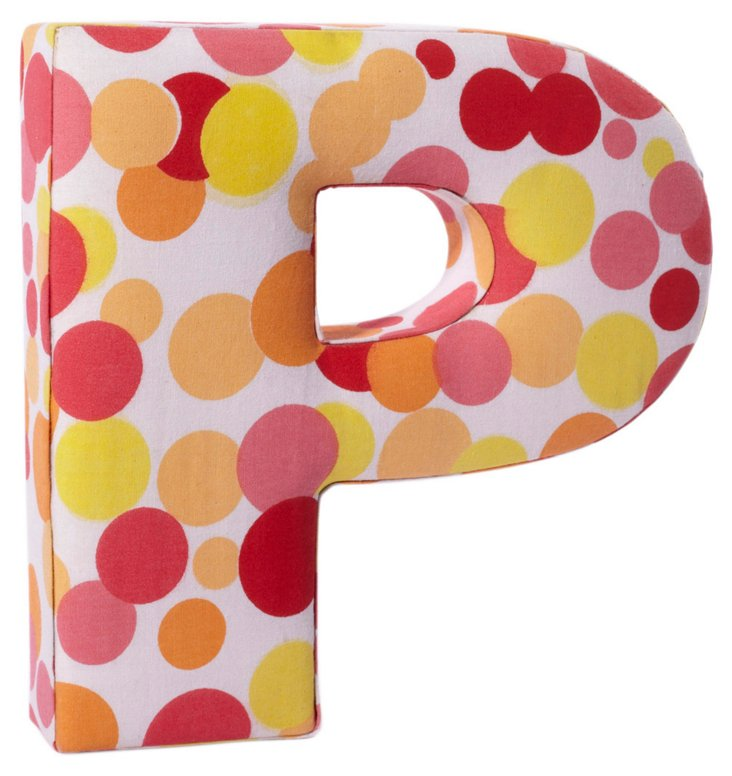 """Fabric Letter """"P"""", Pink Polka Dot"""