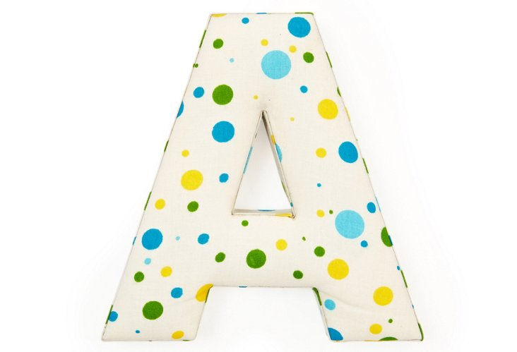 "Fabric Letter ""A"", Blue Polka Dot"