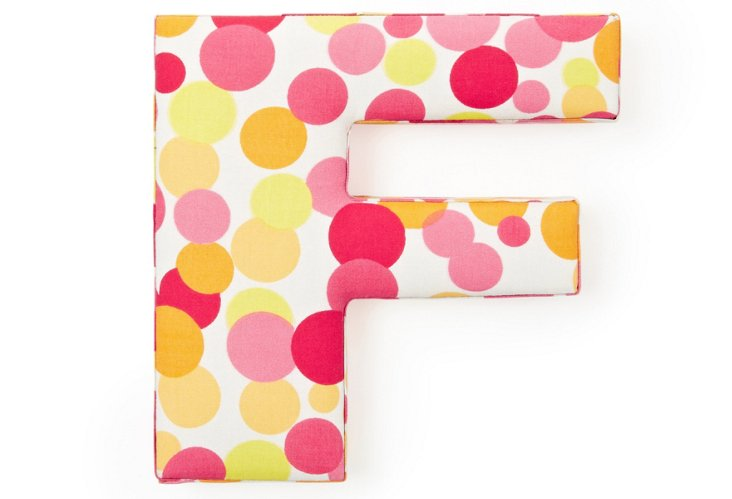 """Fabric Letter """"F"""", Pink Polka Dot"""