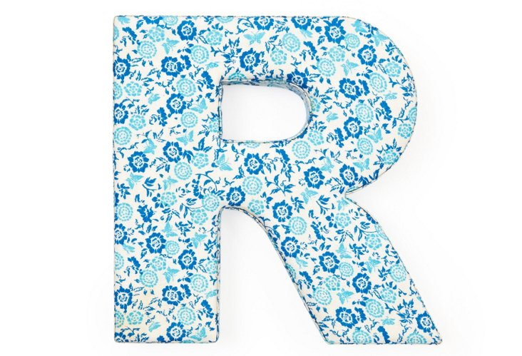 """Fabric Letter """"R"""", Sweet Pea Blue"""