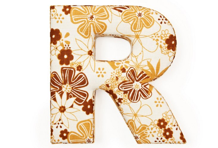 """Fabric Letter """"R"""", Marvelous Mustard"""