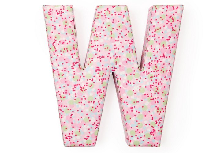 """Fabric Letter """"W"""", Prep Pink and Green"""