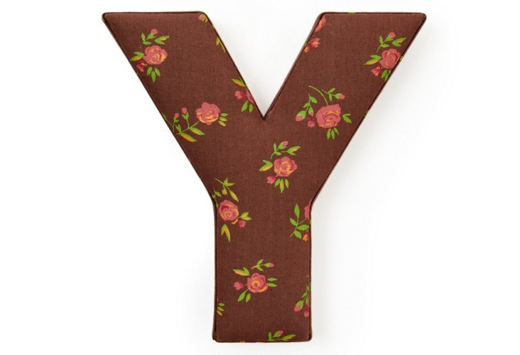 "Fabric Letter ""Y"", Chocolate Rose"