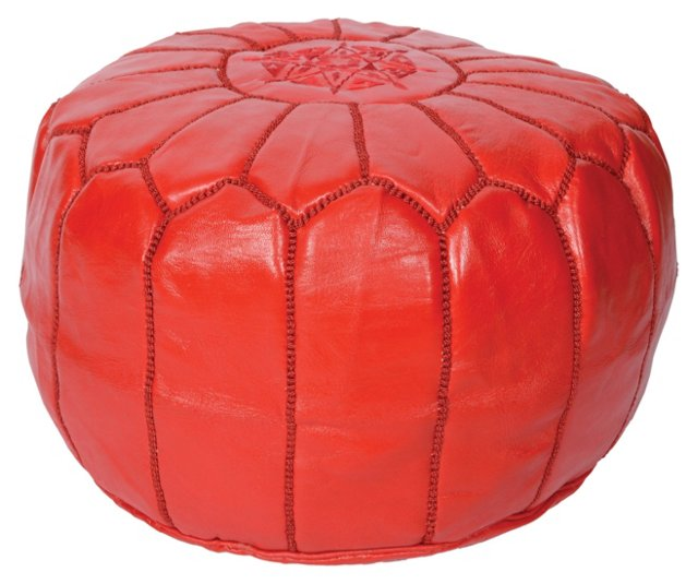 Moroccan Leather Pouf, Red