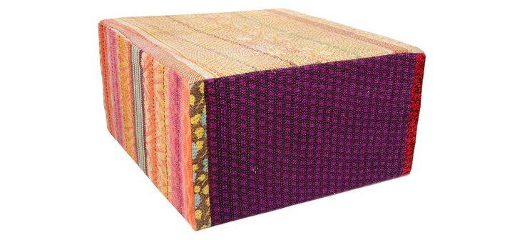 Bengali Cube Ottoman, Pink Multi