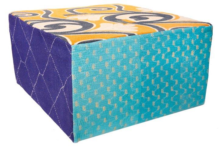 Bengali Cube Ottoman, Blue Multi