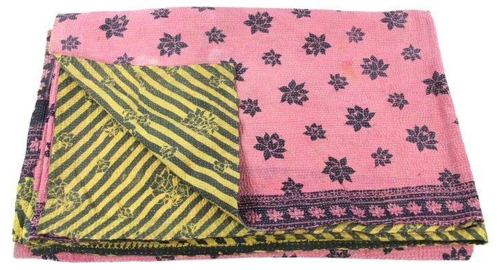Hand-Stitched Kantha Throw, Shada