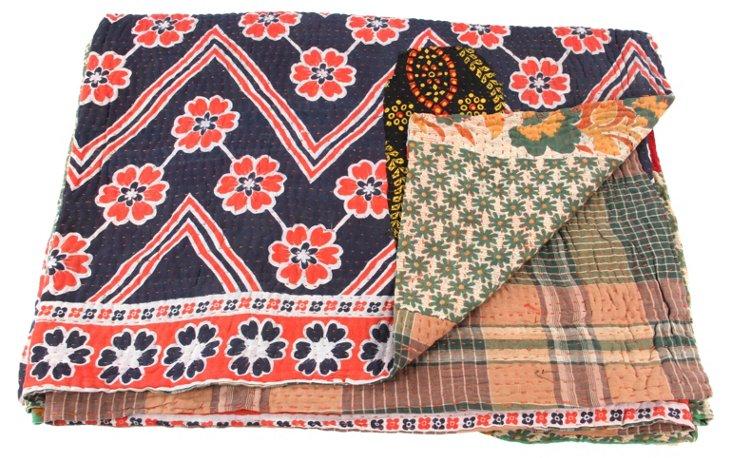 Hand-Stitched Kantha Throw, Mhaya