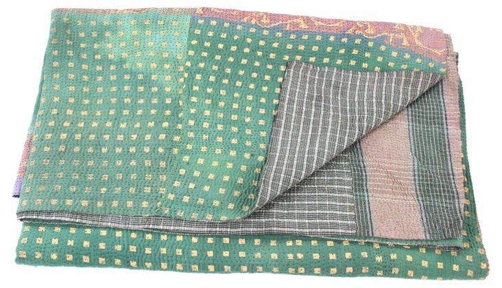 Hand-Stitched Kantha Throw, Namrah