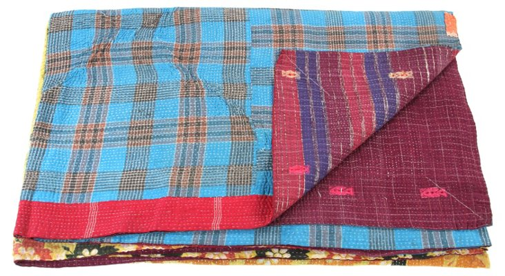 Hand-Stitched Kantha Throw, Elimu