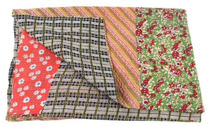 Hand-Stitched Kantha Throw, Nutan