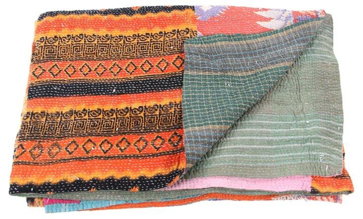 Hand-Stitched Kantha Throw, Heather
