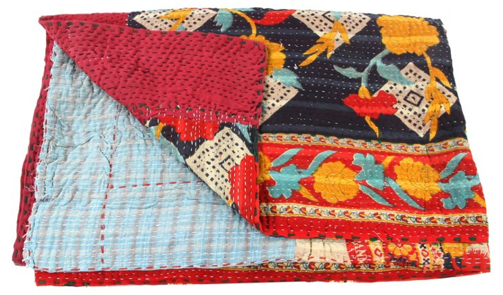 Hand-Stitched Kantha Throw, Grass