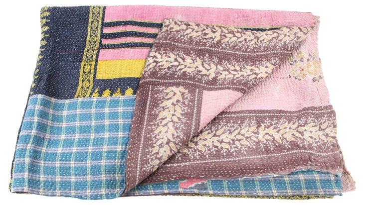 Hand-Stitched Kantha Throw, Rose