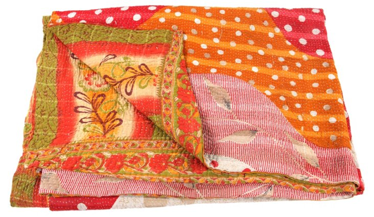 Hand-Stitched Kantha Throw, Franco
