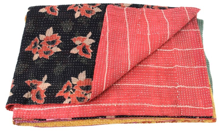 Hand-Stitched Kantha Throw, Wisdom