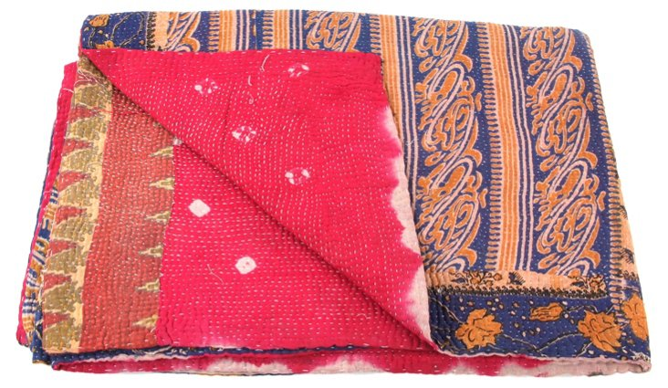 Hand-Stitched Kantha Throw, Kind