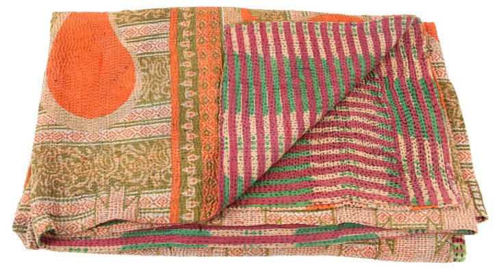 Hand-Stitched Kantha Throw, August