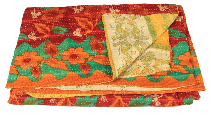 Hand-Stitched Kantha Throw, Edha