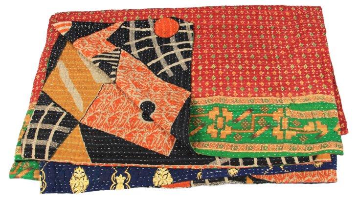 Hand-Stitched Kantha Throw, Raxaul