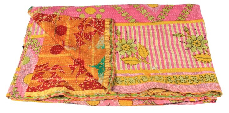 Hand-Stitched Kantha Throw, Kelly