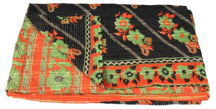 Hand-Stitched Kantha Throw, Daburani