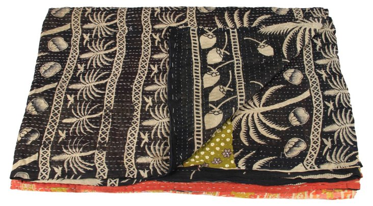 Hand-Stitched Kantha Throw, Feather
