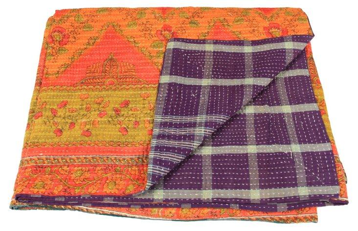 Hand-Stitched Kantha Throw, Athena