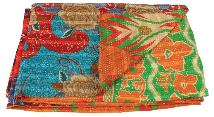 Hand-Stitched Kantha Throw, Efia