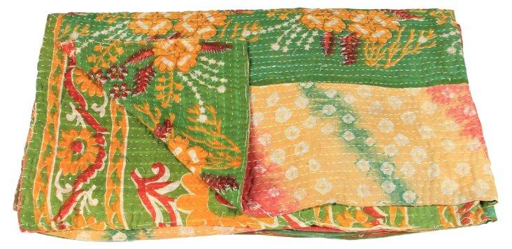 Hand-Stitched Kantha Throw, Tapati