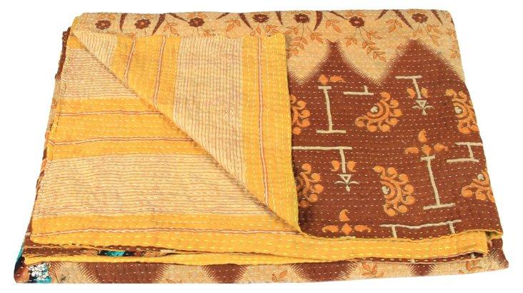 Hand-Stitched Kantha Throw, Spice