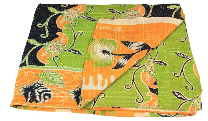 Hand-Stitched Kantha Throw, Neela