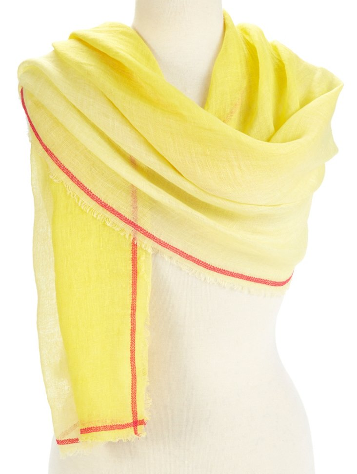 Linen Ombré Neon Scarf, Yellow/Red