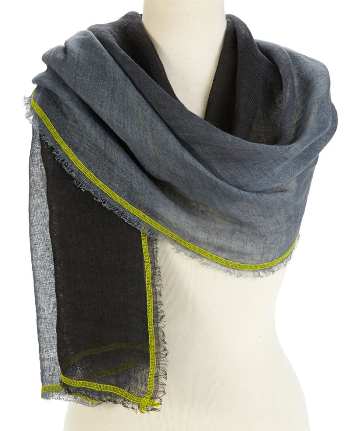 Linen Ombré Neon Scarf, Charcoal/Yellow