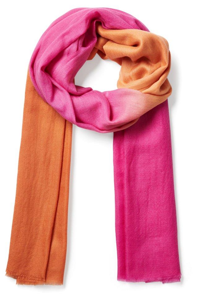 Cashmere Ombré Neon Scarf, Pink/Orange