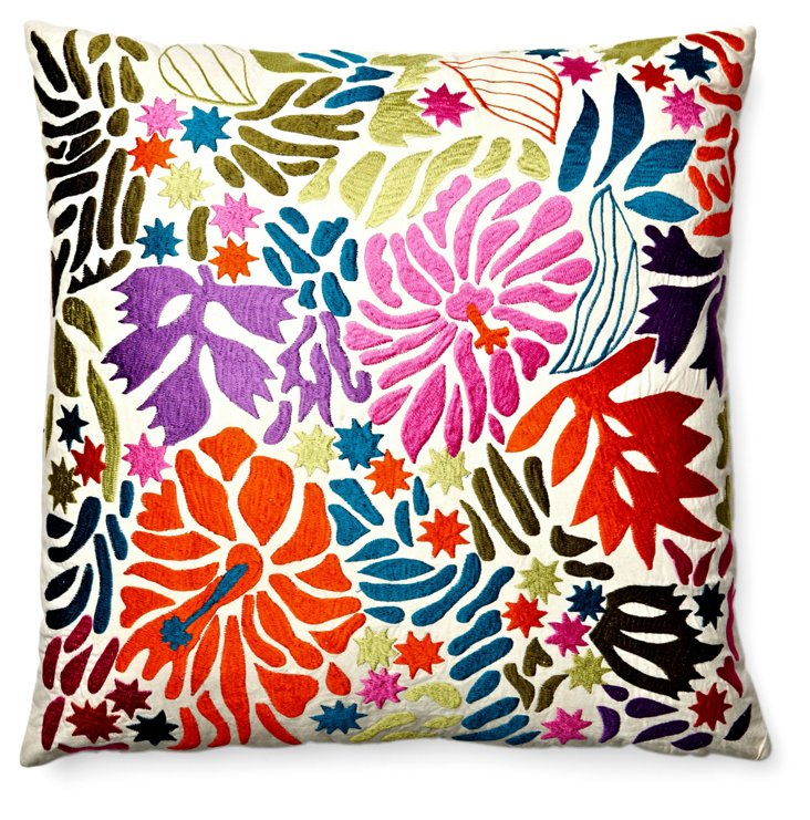 Hibiscus 20x20 Embroidered Pillow, Multi